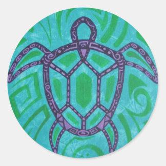Tibal Sea Turtle Round Sticker