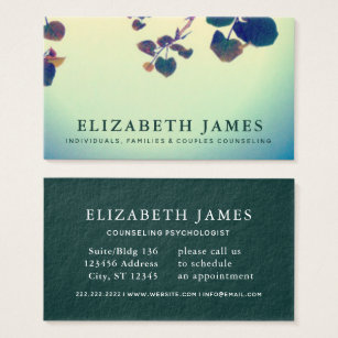 Mental health business cards business card printing zazzle uk tiber blue green heart leaf mental health business card colourmoves