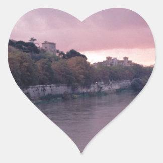 Tiber River at Sunset.png Heart Sticker