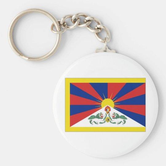 Tibet Flag Basic Round Button Key Ring