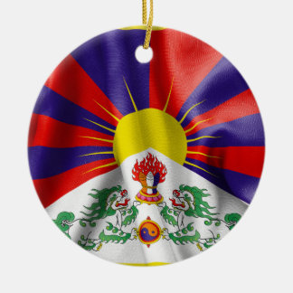 Tibet Flag Double-Sided Round Christmas Ornament