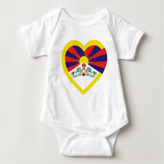 Tibet Flag Heart Baby Bodysuit