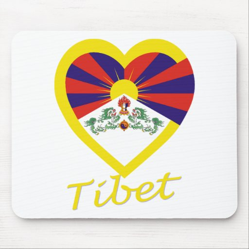 Tibet Flag Heart Mouse Pads