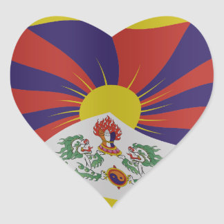 Tibet flag heart sticker