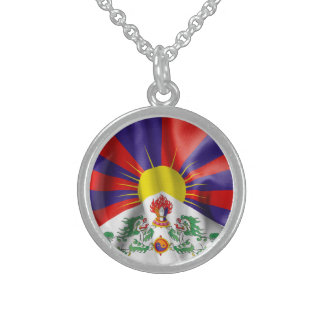 Tibet Flag Sterling Silver Round Necklace