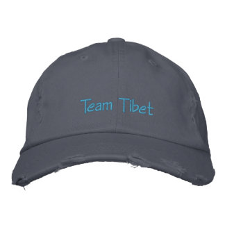 """Tibet Hat: Distressed """"Team Tibet"""" Chino Twill Hat Embroidered Hats"""