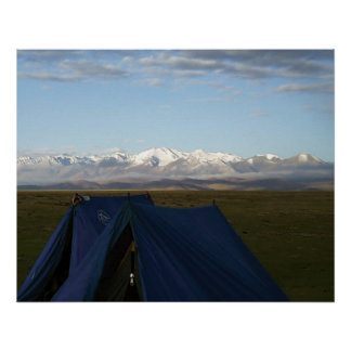Tibet Plateau Mountains Blue Tents on Grass Poster