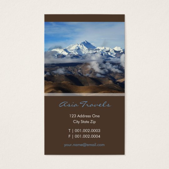 Tibet Qomolangma Mt Everest China Travel Photo Business Card