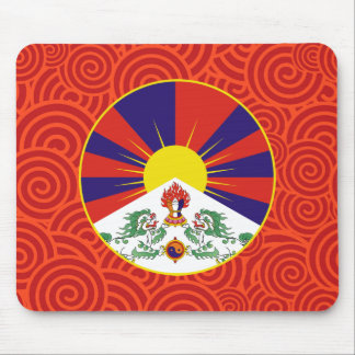Tibet round flag mouse pad