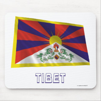Tibet Waving Flag with Name Mouse Pads