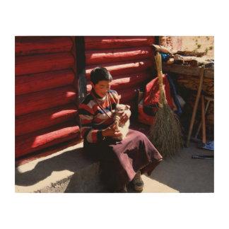 Tibetan Boy Wood Wall Art