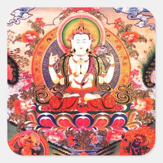 Tibetan Buddhist Art Square Sticker