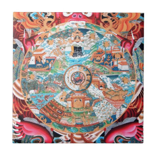 Tibetan Buddhist Art (Wheel of Life) Small Square Tile