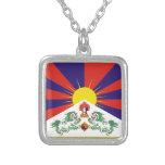 Tibetan Flag Square Pendant Necklace