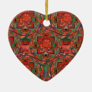 Tibetan Mandala Ceramic Heart Decoration
