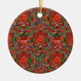 Tibetan Mandala Round Ceramic Decoration