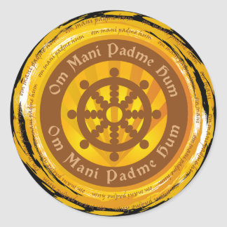 Tibetan Mantra Dharma Wheel Sticker