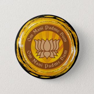 Tibetan Mantra Lotus Flower 6 Cm Round Badge