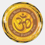 Tibetan Mantra with Aum Symbol Round Sticker