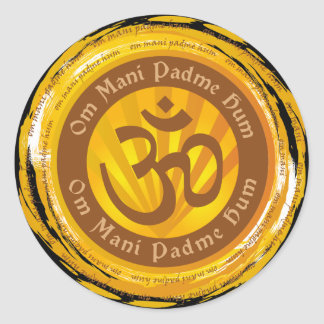 Tibetan Mantra with Aum Symbol Round Sticker