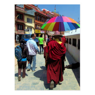 Tibetan Monk with Colorful Umbrella Postcard