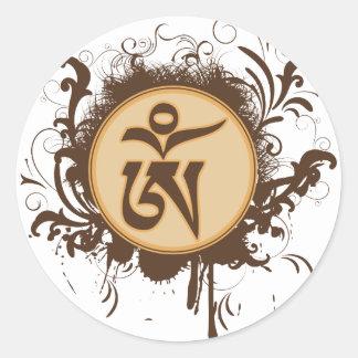 Tibetan Om Classic Round Sticker