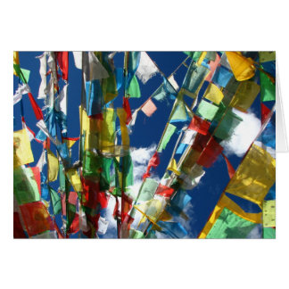 Tibetan prayer flags greeting card (blank inside)
