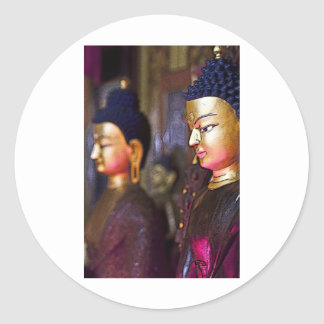 Tibetan Shrine Buddha Round Sticker
