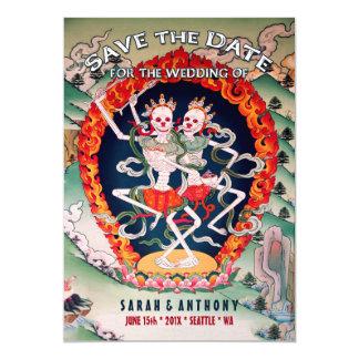 Tibetan Skeletons Dancing Save the Date 13 Cm X 18 Cm Invitation Card
