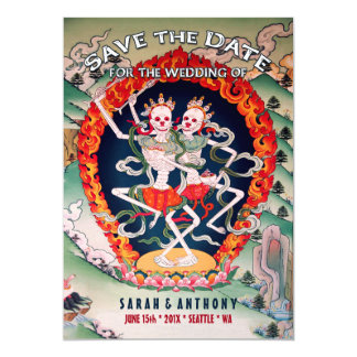 Tibetan Skeletons Dancing Save the Date 13 Cm X 18 Cm Invitation Card