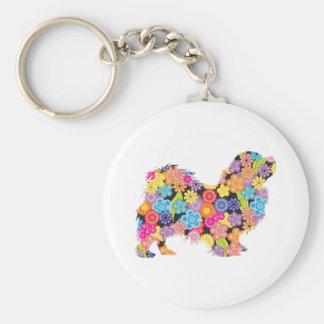 Tibetan Spaniel Basic Round Button Key Ring
