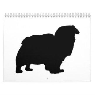 tibetan spaniel silo black.png wall calendar