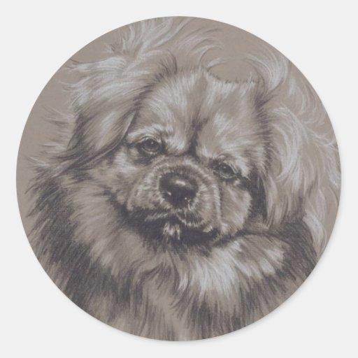 Tibetan Spaniel Round Sticker