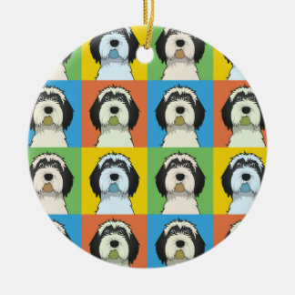 Tibetan Terrier Dog Cartoon Pop-Art Christmas Ornament