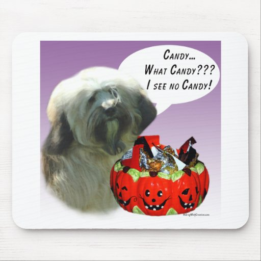 Tibetan Terrier Halloween Candy Mouse Pad
