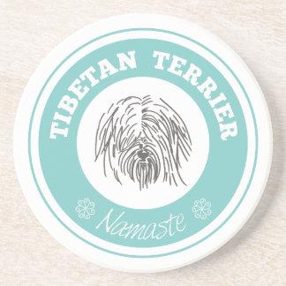 Tibetan Terrier Namaste Tiffany Blue Coaster