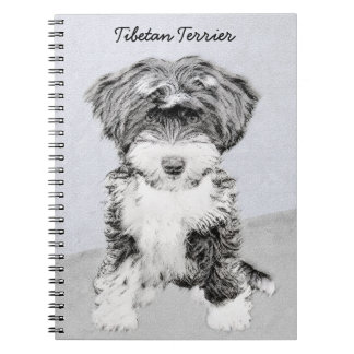 Tibetan Terrier Painting - Cute Original Dog Art Notebook