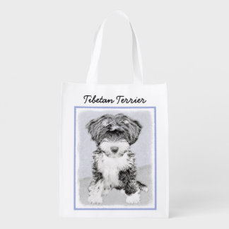 Tibetan Terrier Painting - Cute Original Dog Art Reusable Grocery Bag