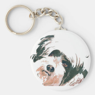 Tibetan Terrier portrait Basic Round Button Key Ring