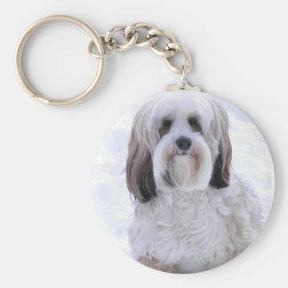 Tibetan Terrier Sable and White Basic Round Button Key Ring