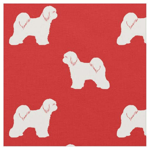 Tibetan Terrier Silhouettes Pattern Red and White Fabric