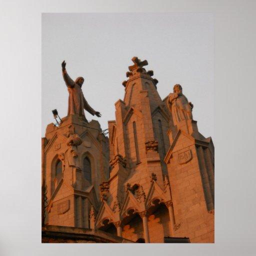 Tibidabo Temple de Sagrat Cor Barcelona Spain Poster