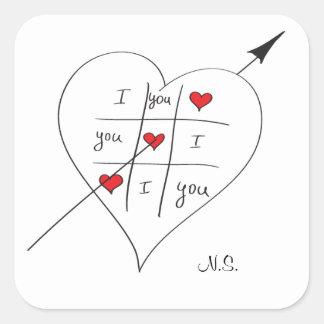Tic Tac Love Toe Square Sticker