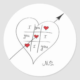 Tic Tac Love Toe Round Stickers