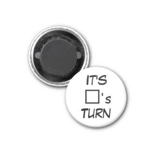 """Tic Tac Toe 1-1/4"""" Fridge Magnet ~ Square's Turn"""