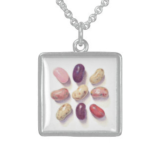 Tic Tac Toe Beans Sterling Silver Square Necklace