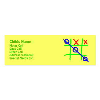 Tic-Tac-Toe Childs ID Pack Of Skinny Business Cards