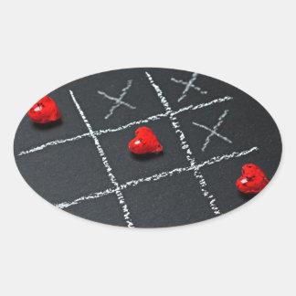 Tic Tac Toe Love Always Wins Oval Sticker