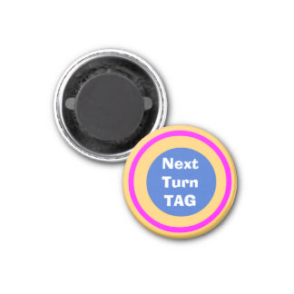 "Tic Tac Toe ~TAG~ (Next Turn) Marker 1-1/4"" 3 Cm Round Magnet"