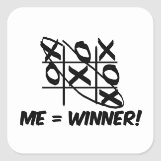 Tic Tac Toe Winner Square Sticker